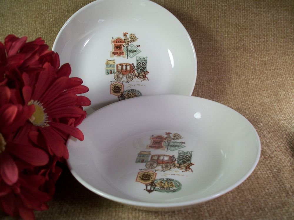 Bowls Early American Rooster Weathervane Carriage Horse VTG Ceramic Tableware