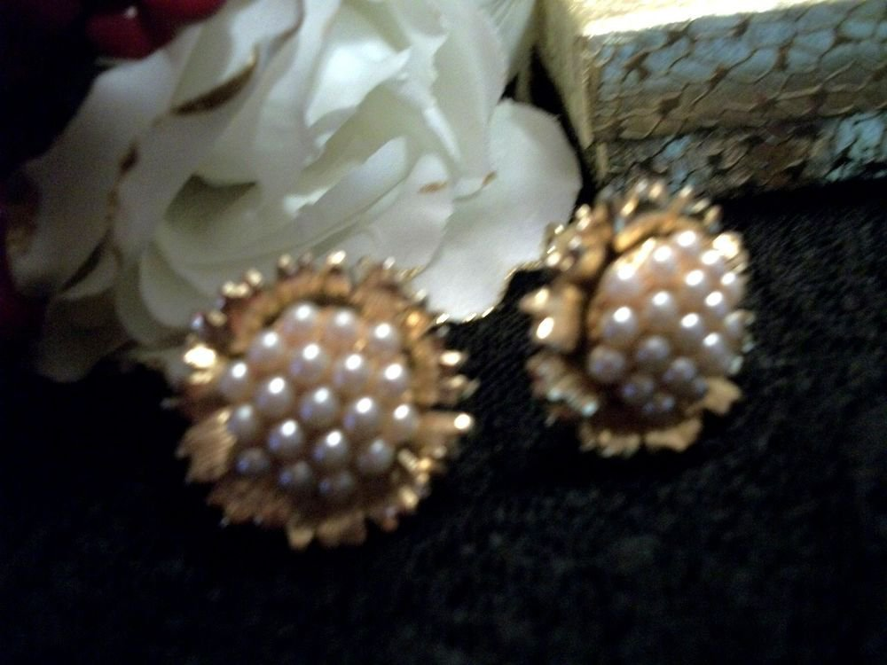 Gold Metal Clip-On Earrings Faux Pearls Round Floral Cluster VTG Costume Jewelry