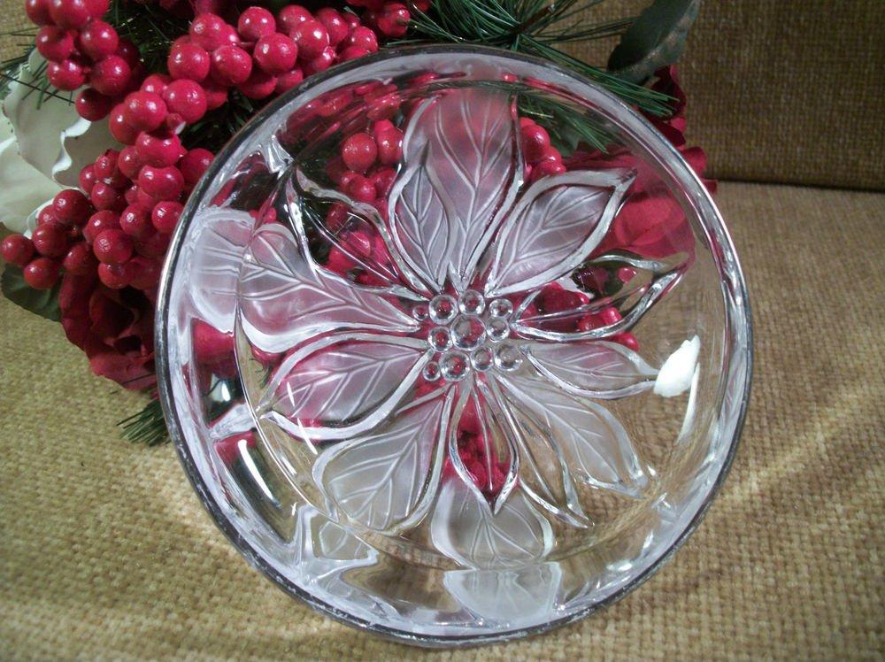 Glass Dish VTG MIKASA Poinsettia Flower Christmas Winter Decorative Tableware