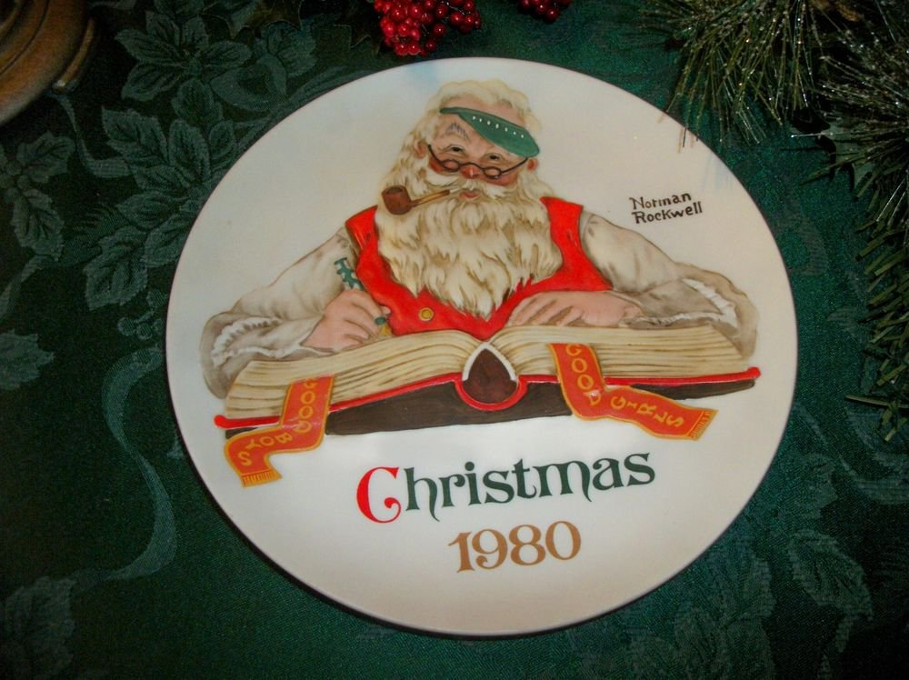Norman Rockwell Christmas Plate Santa Claus Checking His List 1980 Collectible