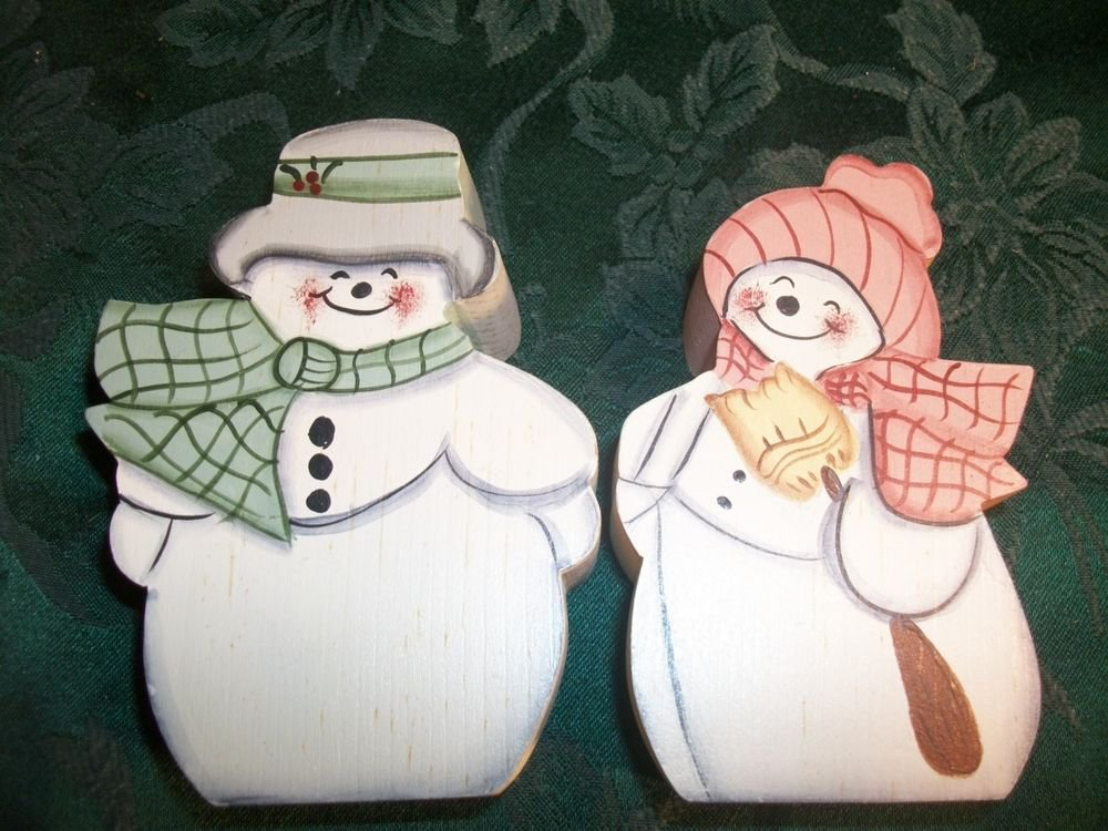 Tole Painted Snowman Couple Chunky Wood Cottage Chic Green Peach VTG Figurines