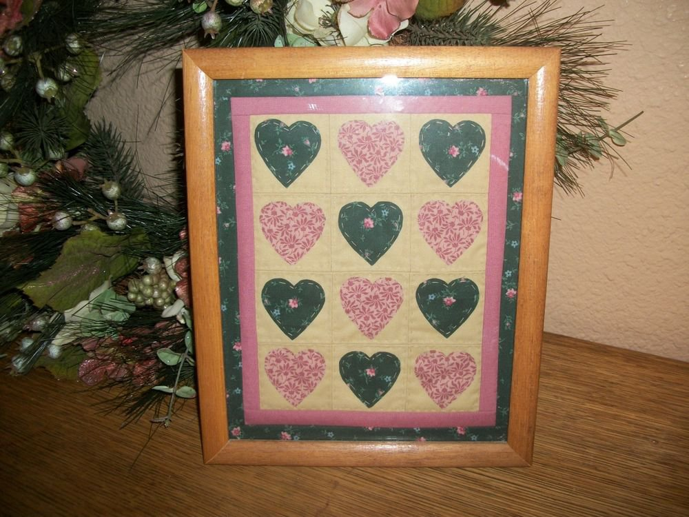 VTG Quilted Hearts Framed Wall Hanging Picture Green Pink Hand Stitched  Decor