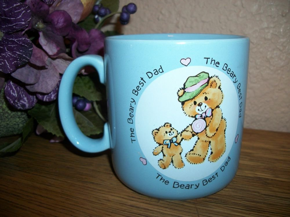 Coffee Mug Beary Best Dad Father & Baby Bear VTG Blue Ceramic Fathers Day Gift