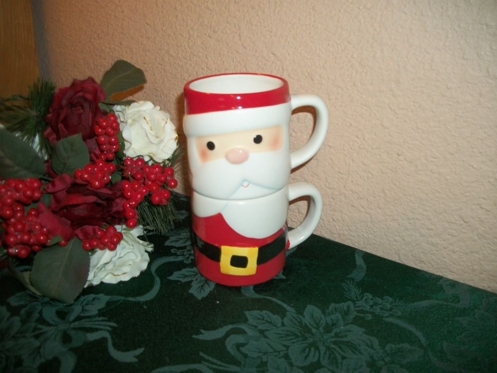 Christmas Santa Claus Mug by Hallmark Two Stackable Red Ceramic Coffee Tea Cup