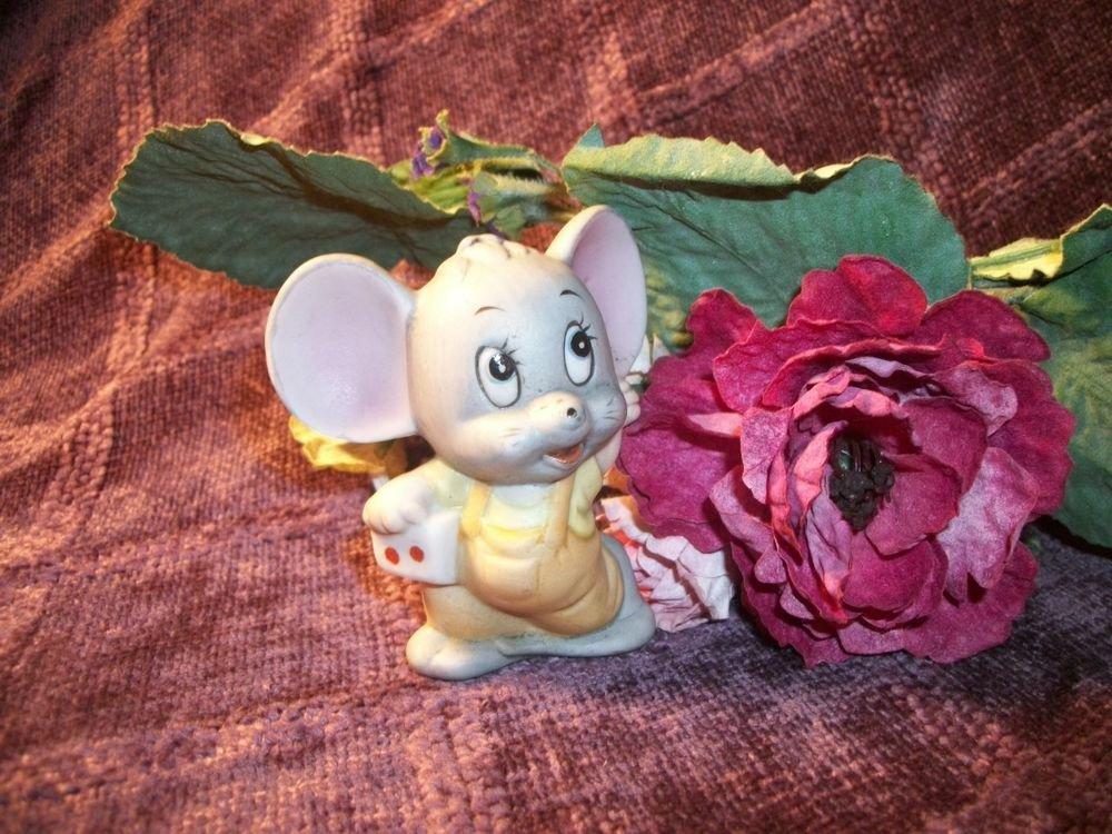 VTG Ceramic Bisque Figurine Grey Mouse Dice Mice Gaming Casino Man Cave  Deco