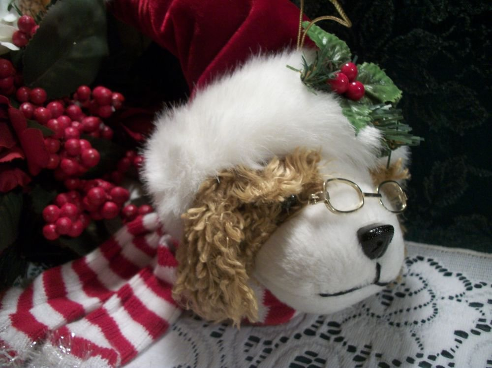 Spaniel Dog Christmas Tree Ornament Stuffed Animal Holiday Decoration