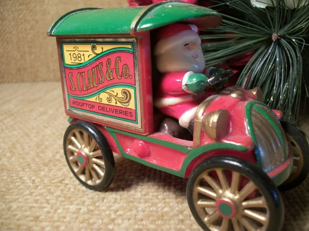 RARE Hallmark Collectible Christmas Ornament 1981 Santa Driving Delivery Truck