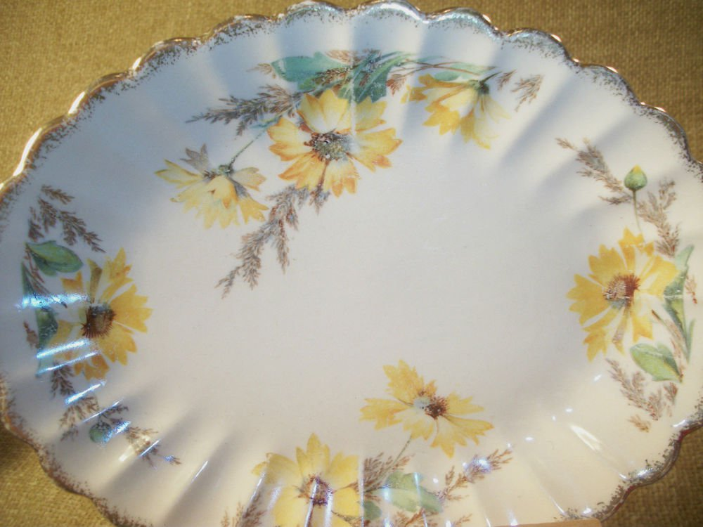 Serving Dish Antique Plate Sebring Golden Ware 22k Gold Yellow Daisy Tableware