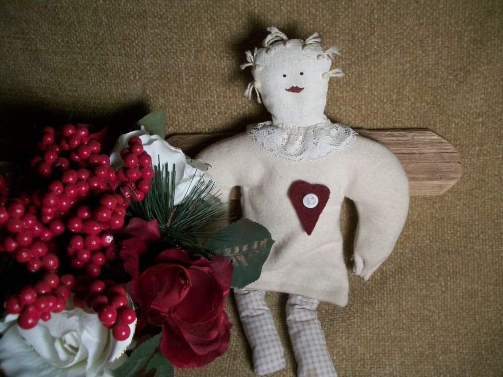 Americana Doll Angel Handcrafted Primitive Folk Wall Hanging Rustic Home Decor