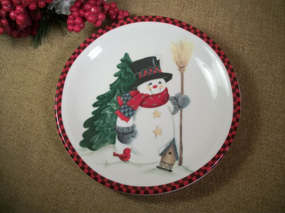 Snowman Decorative Cookie Plate Ceramic Serving Tableware by Studio 33