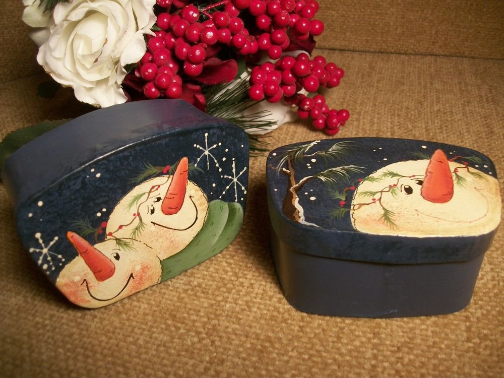 Pair of Hand Painted Snowman Gift Keepsake Trinket Boxes, Christmas Home Decor
