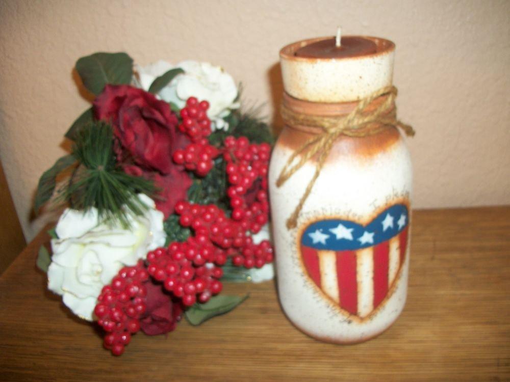 Votive Candle Holder Handpainted American Flag Mason Jar Flower Pot Home Decor
