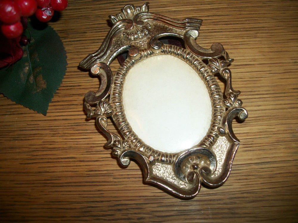 Oval Portrait Picture Frame Ornate Goldtone Metal Easel Back VTG French Decor