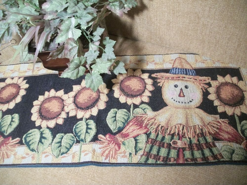 "Fall Table Runner Scarecrow Sunflowers Tapestry 70"" Harvest Thanksgiving Decor"