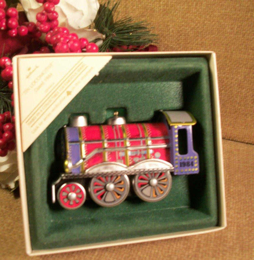 Tin Locomotive Train Christmas Tree Ornament  Hallmark Keepsake Collectible 1984