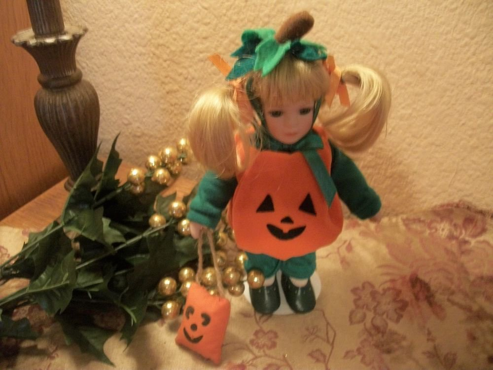 "Anco Doll Pumpkin Halloween Costume 9"" Blond Girl Fall Home Decor Collectible"