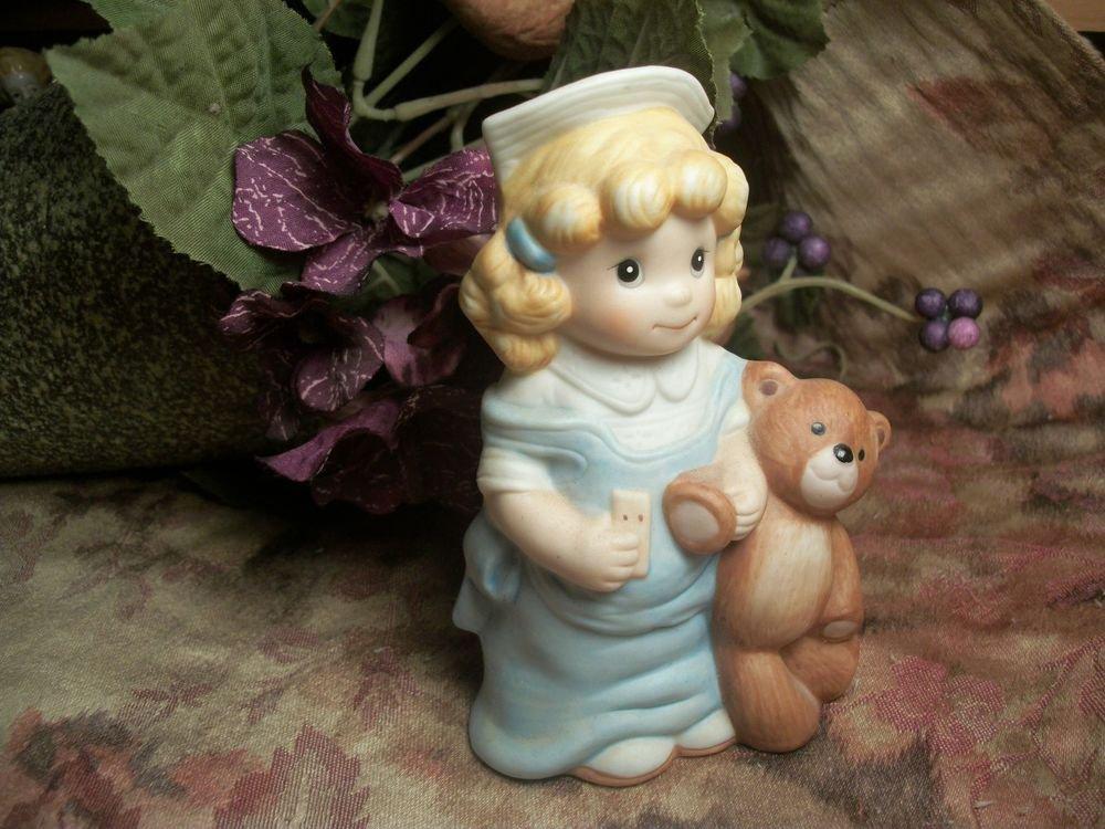 Girl Dressed as Nurse Holding Teddy Bear VTG Wallace Berrie Porcelain Figurine