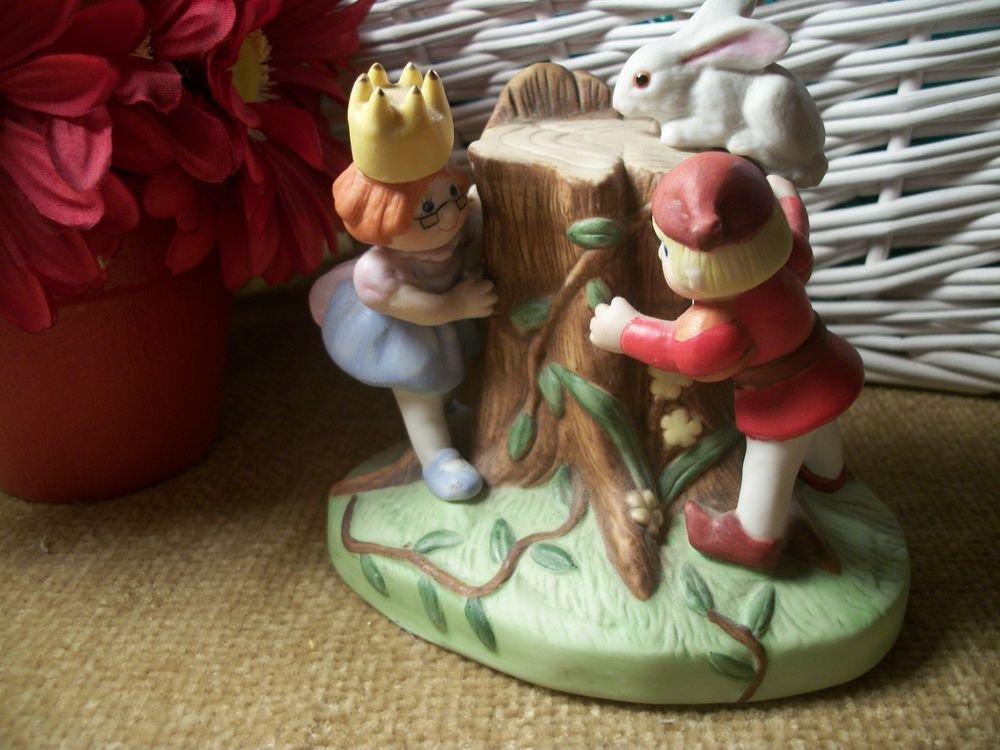 VTG Enesco Porcelain Figurine Children Playing Boy Prince Girl Princess Rabbit