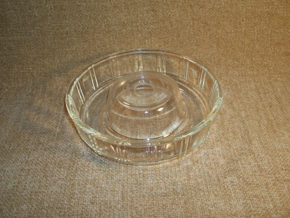 VTG GLASBAKE Queen Anne Glass Donut Dish Round Mold Kitchen Ovenware Bakeware