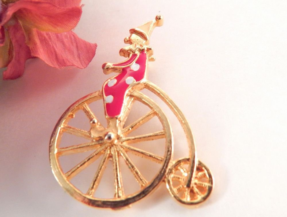 Circus Clown Hi Wheel Bicycle Brooch Penny Farthing Pierrot Pin VTG Enamel