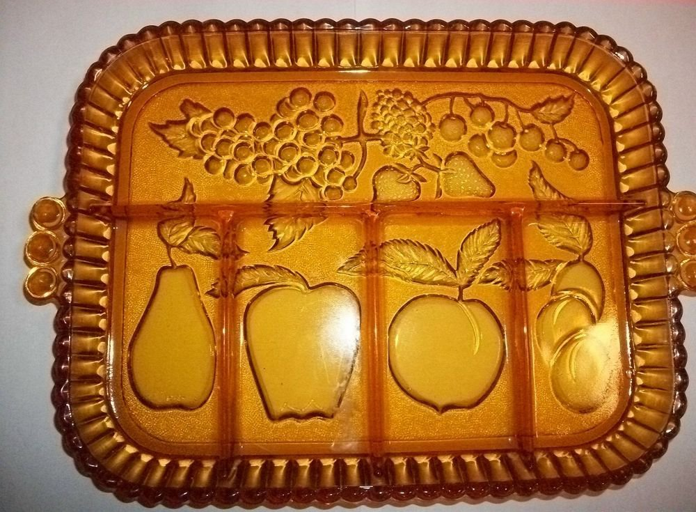 Amber Glass Tray VTG Fruit Motif Serving Platter Fall Thanksgiving Tableware