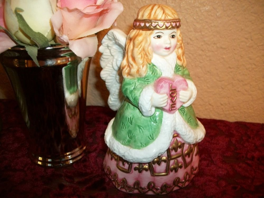 Angel Bell Figurine Love Heart Girl Winter Home Decor Collectible Ceramic Gift