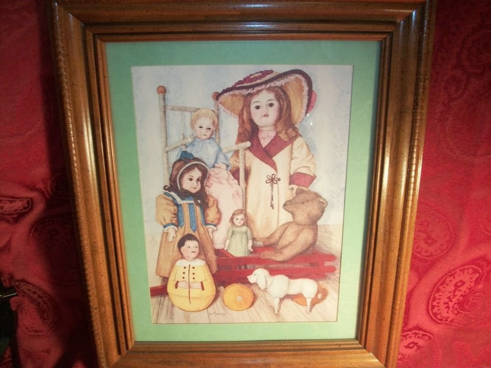 Pat Young Dolls Teddy Bear Wagon Rocking Chair Framed Print Picture Wall Hanging