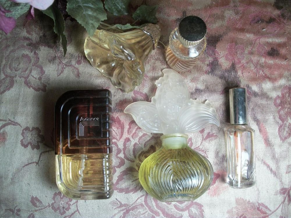 VTG Fragrance Five Perfume Bottles Boudoir Decor Avon Prince Matchabelli Revlon