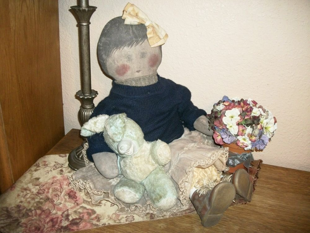 """Whimsical Hand Crafted Girl Doll 30"""" Soft Sculpture Painted Muslin Home Decor"""