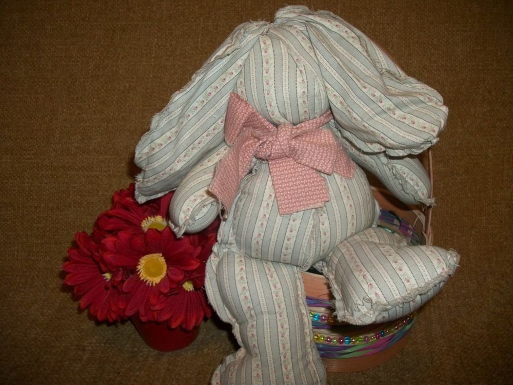 Soft Sculpture Bunny Rabbit Handsewn Scrappy Stuffed Animal Farmhouse Home Decor