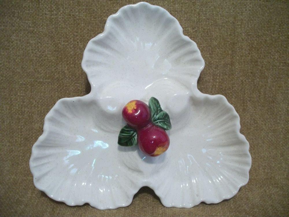 Red Apple Ceramic Serving Dish Handpainted VTG California Pottery AP511