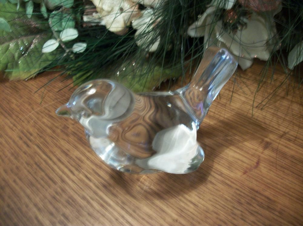 Blown Glass Bird Paperweight Clear Glass Home Decor Figurine VTG Collectible