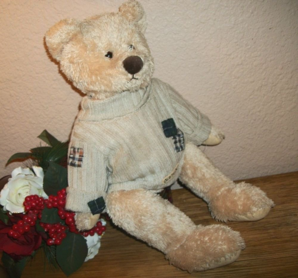 """Beige Plush Stuffed Animal Bear 18"""" Old Friend by Teresa Kogul 2004 Keepsake Toy"""