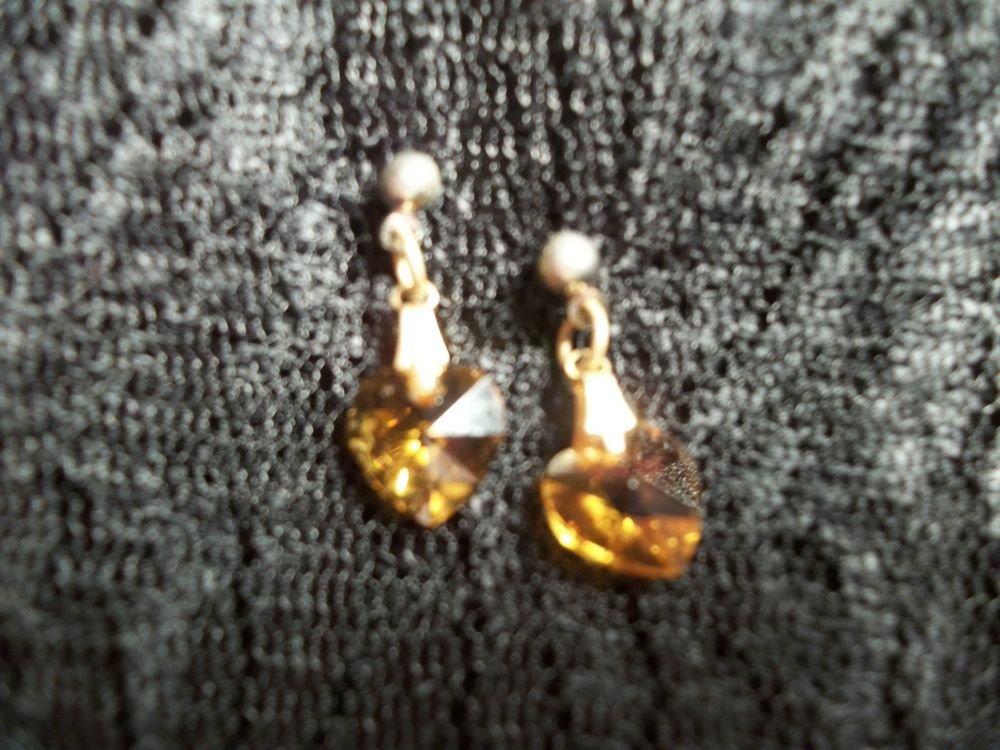 Crystal Hearts Dangle Earrings Translucent Amber  Elegant Romantic VTG Jewelry