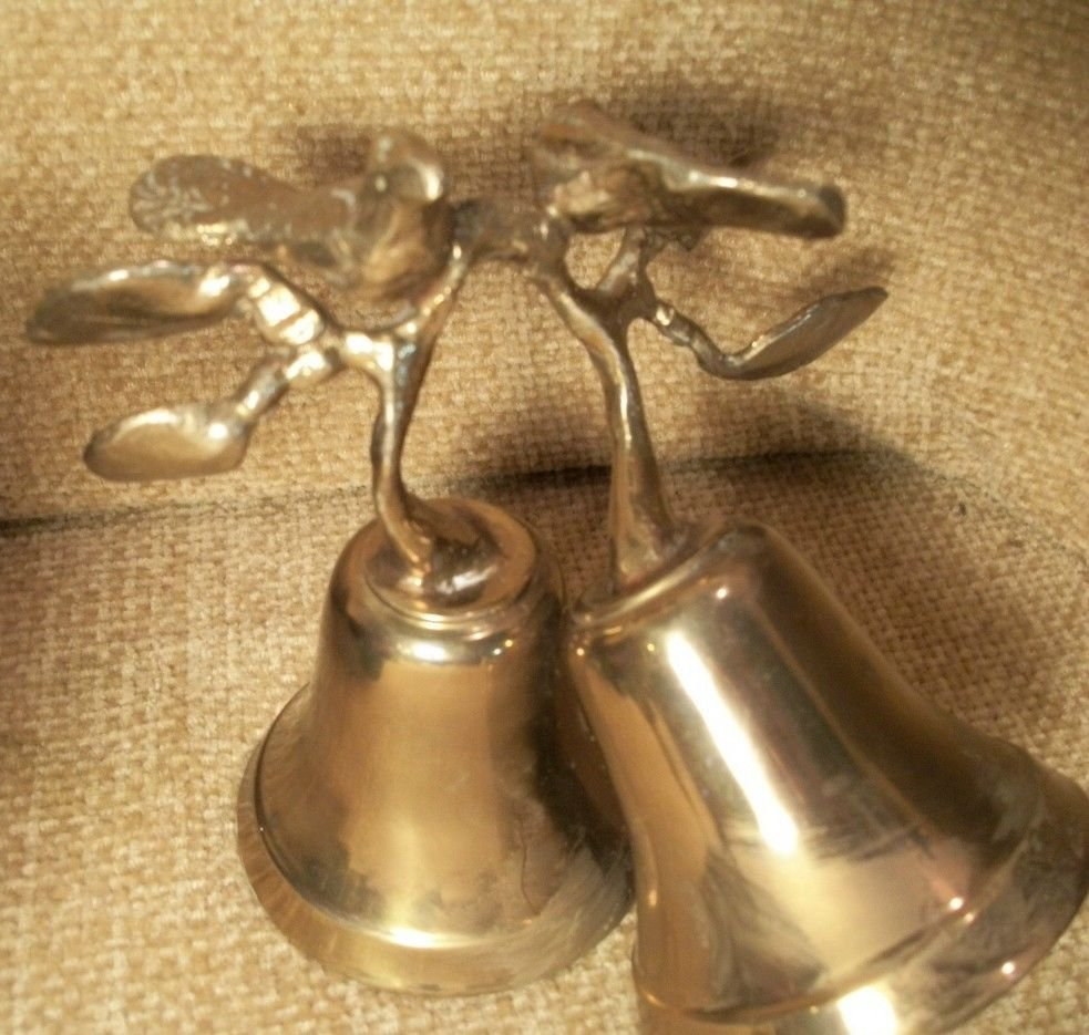 Antigue Brass Bells with Birds on Branch Handle Unique Double Bell Collectible