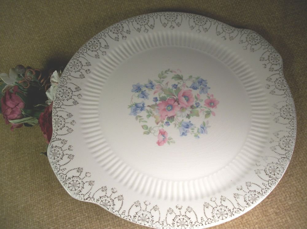 Cake Plate  Royal China Sebring Ohio VTG Serving Platter Decorative Dish