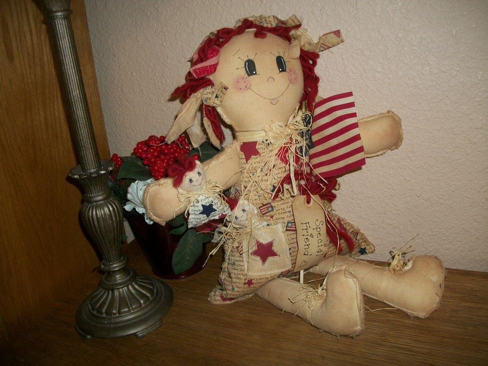 Handmade Big Doll Red Hair Raggedy Ann Style Fiber Filled Muslin Soft Sculpture