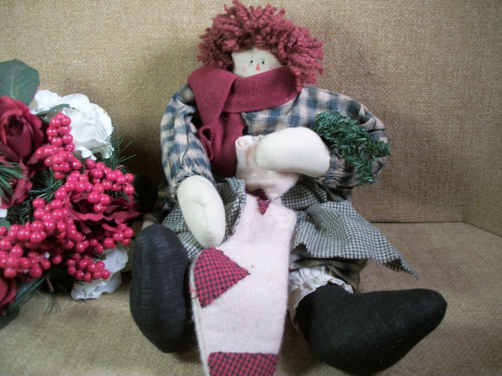 Country Christmas Rag Doll Soft Sculpture Girl Raggedy Style Winter Decoration