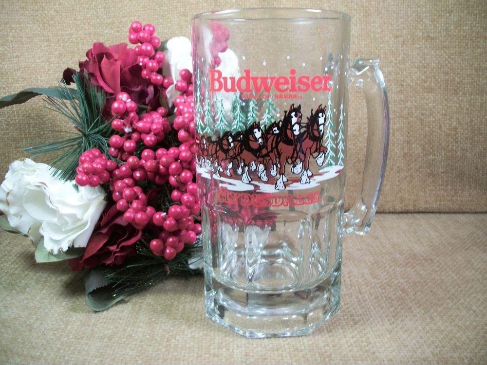 Budweiser Beer Glass Mug Clydsdale Horses Winter Scene Anheuser-Busch VTG 1989