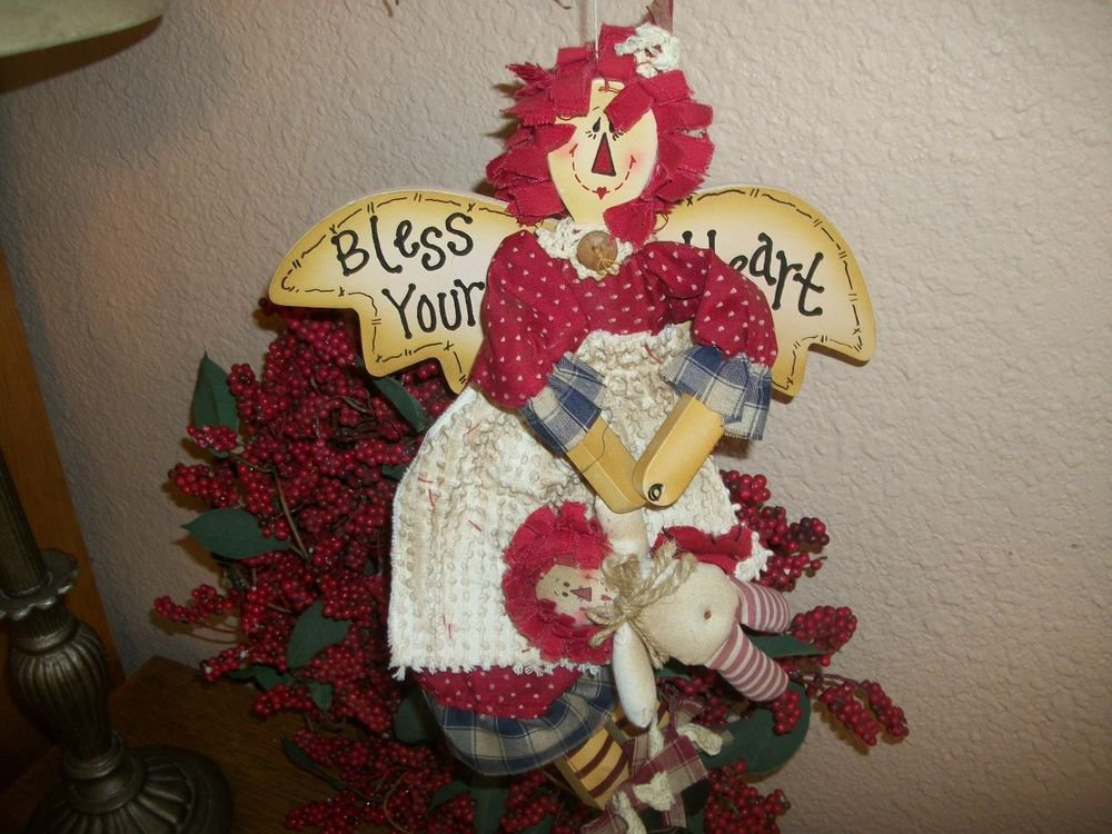 Raggedy Angel Doll Wall Hanging Hand Painted Wood Red Blue Fabric Americana