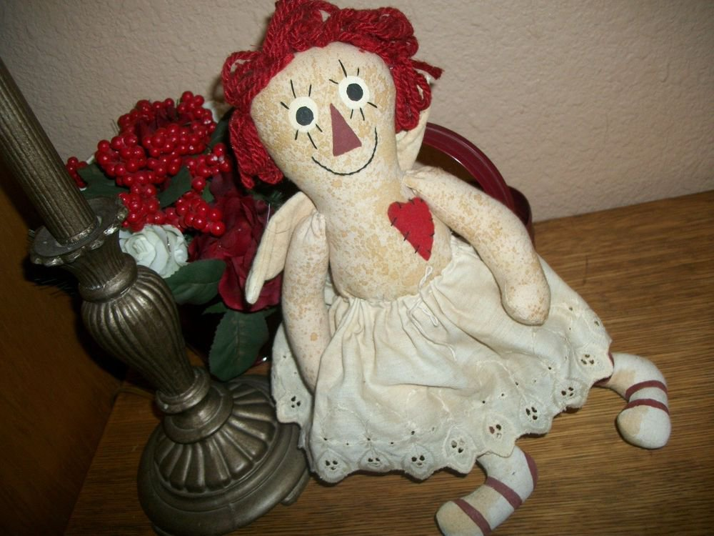 Dirty Angel Doll Raggedy Ann Style Red Hair Hand Crafted Primitive Home Decor