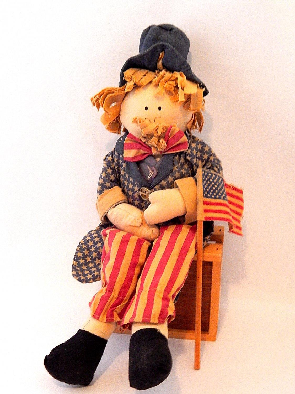 Uncle Sam Doll Patriotic USA  Americana Red White Blue Home Decor