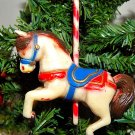 Antique Celluloid Carousel Horse Christmas Tree Ornament
