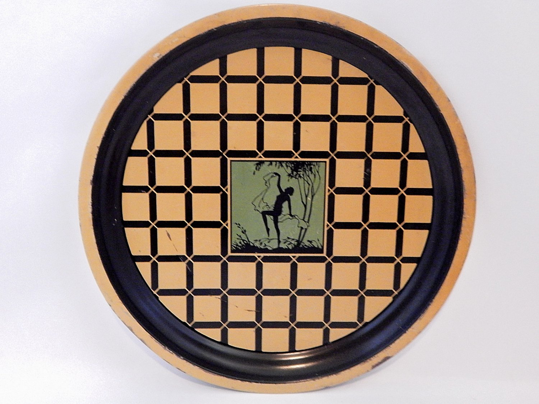 Art Deco Nude Woman Bar Tray Gold Black Metal Antique Serving Platter