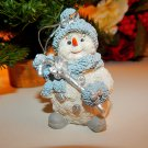 Snowman Christmas Tree Ornament Blue White and Silver Resin Figurine Winter Decoration