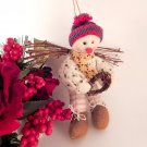 Woodland Snowman Angel Ornament Folk Art Christmas Decoration Wall Hanging