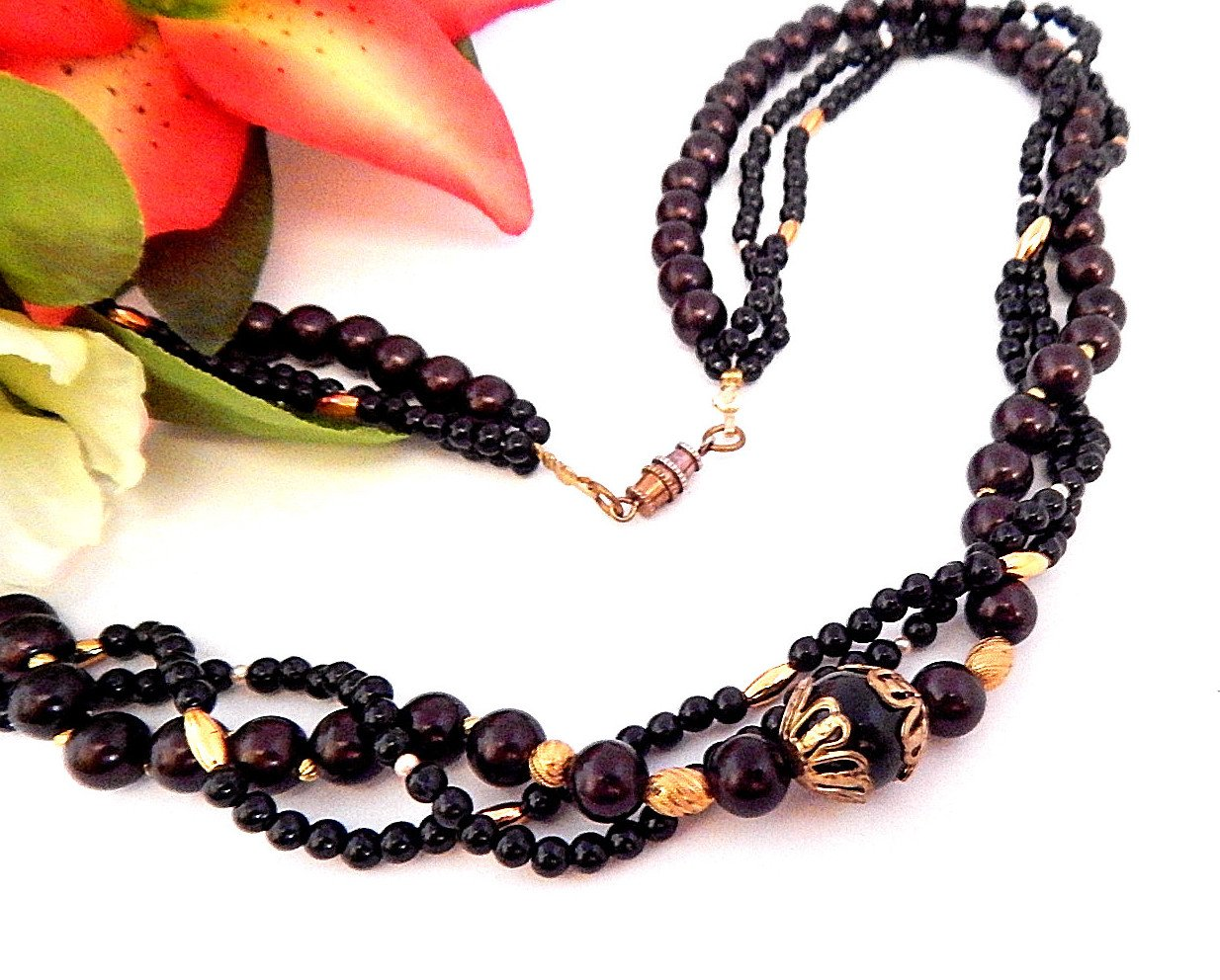 """Beaded Necklace 24"""" Three Strand Black Brown and Gold Beads Vintage 1970s Fashion Jewelry"""