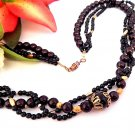 "Beaded Necklace 24"" Three Strand Black Brown and Gold Beads Vintage 1970s Fashion Jewelry"