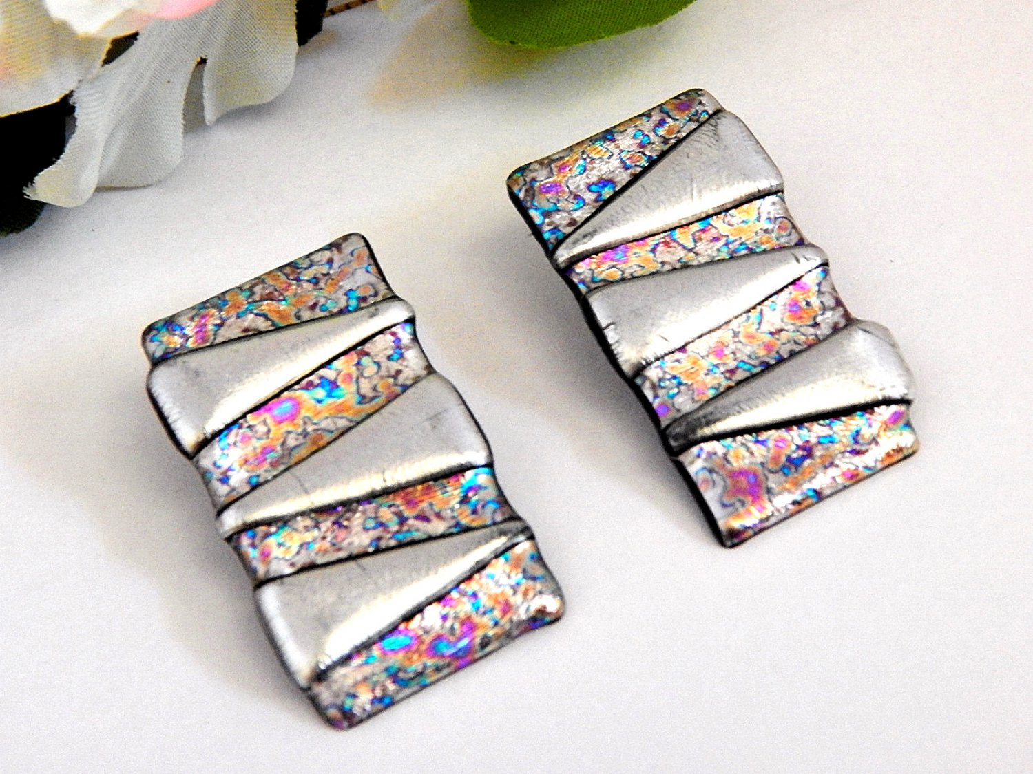 Hand Crafted Silver Geometric Earrings  Vintage 1980's Fashion Jewelry