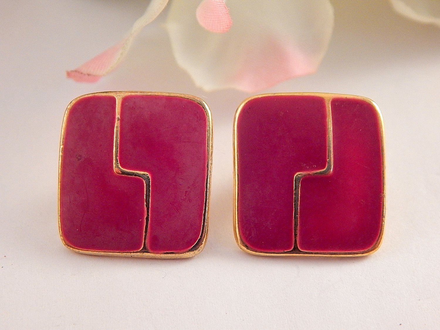 Pink Enamel Earrings Geometric Mod Vintage 1970's Gold Metal Jewelry for Pierced Ears